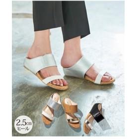 サンダル レディース バイ カラー ダブル ベルト 靴 22.0〜22.5/23.0〜23.5/24/24.5cm ニッセン