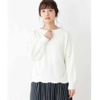 pink adobe / ピンクアドベ 光沢モール地 裾スカラップニット