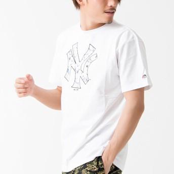 Tシャツ - SILVER BULLET 半袖 tシャツ メンズ Majestic【マジェスティック】S/S DIAMOND PRINT T/全3色【クルーネック トップスダイヤモンド ロゴ プリント ヤンキース ブランド ストリート ブラック ブルー ホワイト M L XL 夏