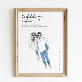 NY在住イラストレーターが描くおしゃれ似顔絵ウェルカムボード │結婚祝い