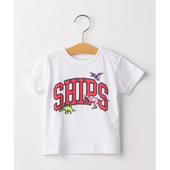 シップス キッズ SHIPS KIDS:ロゴ×恐竜 プリント TEE(80~90cm) レディース ホワイト 80 【SHIPS KIDS】