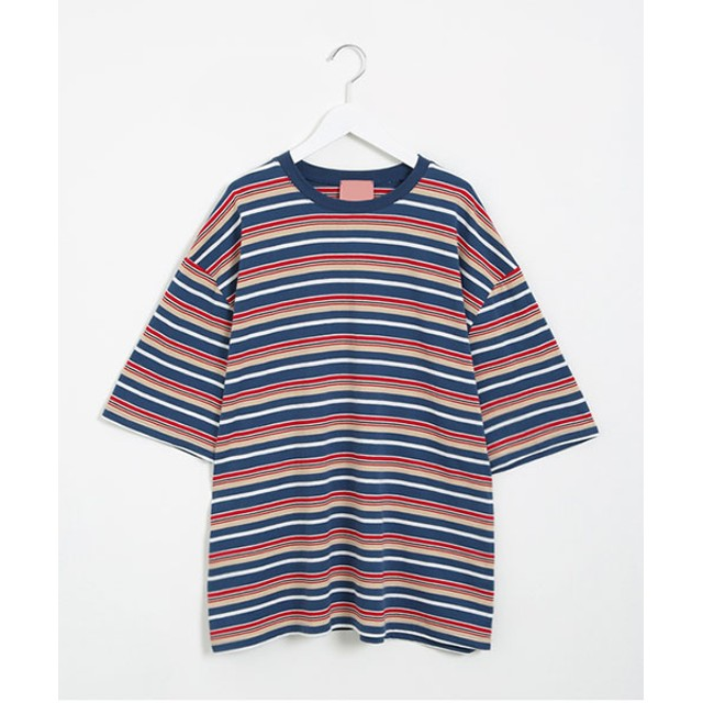 Tシャツ - NOWiSTYLE SONYUNARA(ソニョナラ)マルチストライプTシャツ韓国 韓国ファッション ボーダー トップス ストライプ マルチボーダーTシャツ 半袖 オーバーフィット 半袖Tシャツ 韓国Tシャツ