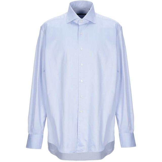 《セール開催中》XACUS メンズ シャツ ブルー 45 コットン 100%