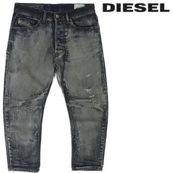 ディーゼル DIESEL ジーンズ デニム パンツ メンズ クラッシュダメージ加工 ペイント加工 レギュラーキャロット クロップド NARROT die-m-p-90-245