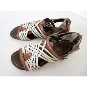 8c120781767c ピンクアドベ pink adobe サンダル グラディエーターサンダル レザー 40 茶色 ブラウン 白 25.0 大きいサイズ くつ 靴