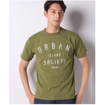 ikka URBAN ISLAND SOCIETY カスレロゴプリントTシャツ(オリーブ)【返品不可商品】