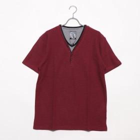 スタイルブロック STYLEBLOCK MIXワッフルフェイクレイヤード5ボタンYヘンリーネック半袖Tシャツカットソー (MIXワイン)