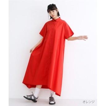 (merlot/メルロー)【IKYU】アシメヘムシャツワンピース/レディース オレンジ 送料無料