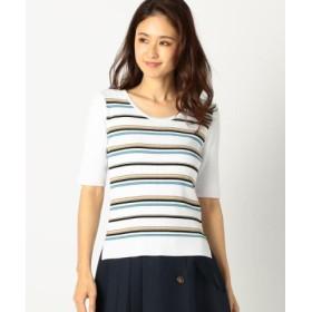 (MEW'S REFINED CLOTHES/ミューズ リファインド クローズ)洗えるマルチボーダー5分ニット/レディース シロ
