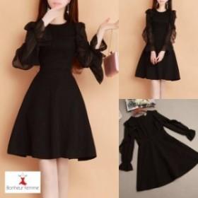 韓国 ファッション レディース ワンピース リトル ブラックドレス フェミニン 上品 フリル袖 フォーマル きれいめ 大人可愛いH-154