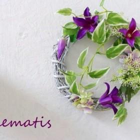 【夏リース】凛と咲く、クレマチスの涼やか初夏リース。「Creema限定」