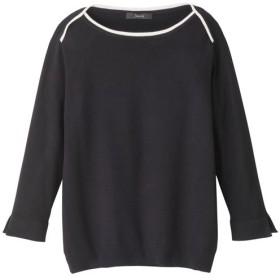 【レディース】 配色使いニット - セシール ■カラー:ブラック ■サイズ:M