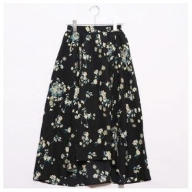 グリーンパークス Green Parks outlet フラワーptフィッシュテールスカート (ブラック)