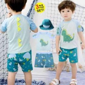 水着子供 男の子水着 息子  半袖 可愛い恐竜 パンツ水着 キッズ  砂浜 夏休み