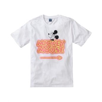 DISNEY(ディズニー) ロゴ入りミッキー蛍光プリント半袖Tシャツ Tシャツ・カットソー