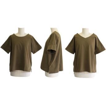 Tシャツ - CELL TOPS 前後2WAYトップス 半袖 丸首 Vネック ゆったり 無地 定番 レディース
