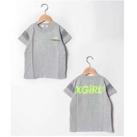 X-girl Stages 袖ラインスポーツTシャツ(トップグレー)【返品不可商品】