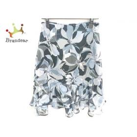 ギャラリービスコンティ スカート サイズ3 L レディース 美品 黒×ライトブルー×マルチ 花柄   スペシャル特価 20190825