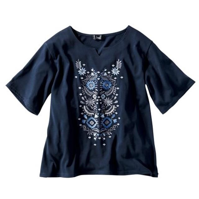 5分袖刺しゅうドロップショルダーカットソートップス (大きいサイズレディース)Tシャツ・カットソー