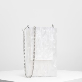 【2019 SUMMER】レジンフロント フラップクラッチ / Resin Front Flap Clutch (White)