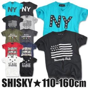 【送料無料】 SHISKY シスキー 半袖 Tシャツ シャツ Vネック ロゴ プリント 白 ホワイト 黒 綿 コットン 薄手 子供 子ども キッズ ジュニア 男の子 女の子 男女兼用 110 120