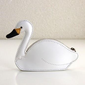 革の白鳥ポーチ