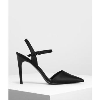 サテンアンクルストラップ カバードヒール / Satin Ankle Strap Covered Heels (Black)