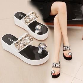 サンダル レディース 履きやすい ミュール ウェッジサンダル ラインストーン ビジュー ウェッジソール サンダル トング ファッション 靴 婦人靴 厚底サンダル-P565
