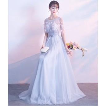 ドレス ロングドレス ワンピース ノースリーブ ケープ 花柄 ロング丈 チュールスカート レースアップ 二次会 パーティー お呼ばれ