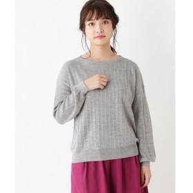 pink adobe / ピンクアドベ 【洗濯機で洗える】ウール混 縦編みライン ニット
