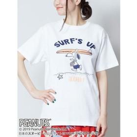 チャイハネ SNOOPY スヌーピーTシャツMサイズ SURF'S UP 4JU 9217 レディース ホワイト Free 【CAYHANE】