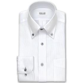 ワイシャツ - ワイシャツの山喜 ELLE HOMME 長袖 ワイシャツ メンズ 春夏秋 形態安定 吸水速乾 ゆったり 白ドビーボタンダウン綿:70%ポリエステル:30% ホワイト(zed386-200)