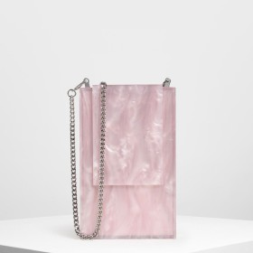 【2019 SUMMER】レジンフロント フラップクラッチ / Resin Front Flap Clutch (Pink)