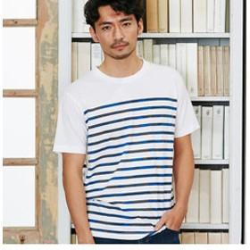 【メンズビギ:トップス】カモフラ柄ボーダーTシャツ