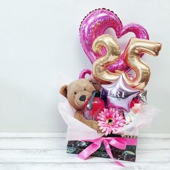【名入れOK】バスグッズ入り【バルーンアレンジ】お友達の誕生日におしゃれなプレゼント、バルーン電報、結婚祝い