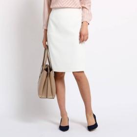 インディヴィ INDIVI [L]【マシンウォッシュ/UV】リネン風タイトスカート (ホワイト)