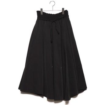 ミラオーウェン Mila Owen アシンメトリーヘムフレア巻きスカート (ブラック)