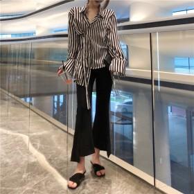 <即納>【◆INS話題 】 韓国ファッション 新品追加 ゆったり おしゃれ ストライプ シャツ トップス ブラウス FREE/上品 レディース 無地 ズボン S/M 超人気!満足度99%↑