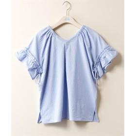 袖リボンカットソープルオーバー (大きいサイズレディース)Tシャツ・カットソー