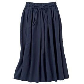 20%OFF【レディース】 リネンコットンのギャザースカート(ベルト付き) - セシール ■カラー:ナイトブルー ■サイズ:S,3L,L,LL,M
