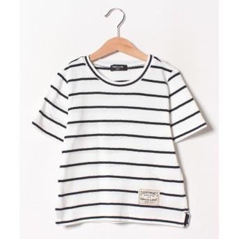 【50%OFF】 コムサイズム ボーダー 半袖Tシャツ ユニセックス ホワイト 110cm 【COMME CA ISM】 【セール開催中】