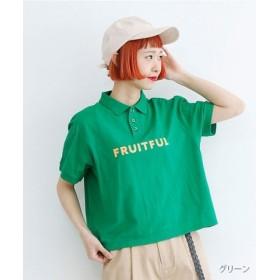 (merlot/メルロー)「FRUITFUL」ロゴプリントポロシャツ/レディース グリーン