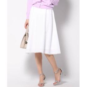 (QUEENS COURT(LSIZE)/クイーンズコート(大きいサイズ))【大きいサイズ】裾ピコレースフレアスカート/レディース ホワイト