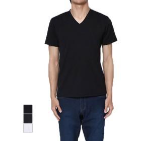 Tシャツ - Style Block MEN Tシャツ カットソー 半袖 Vネック 半袖Tシャツ へリンボン柄 ジャガード トップス ブラック ネイビー ホワイト 夏先行