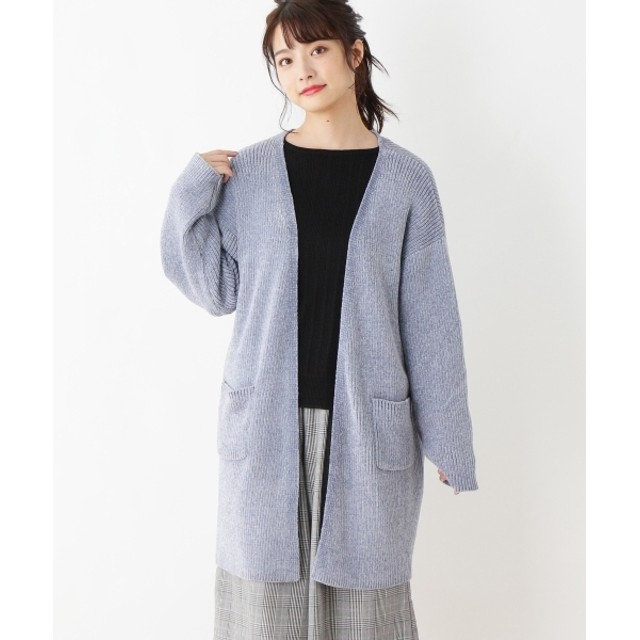 カーディガン - pink adobe 光沢モール地 ロングニットカーディガン