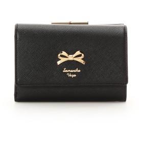 サマンサベガ シンプルリボン 折財布 ブラック