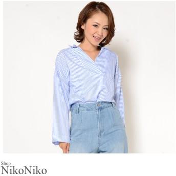 シャツ - ShopNikoNiko 春新作 ストライプオーバーサイズシャツ ma トップス シャツ レディース ストライプ 大きいサイズ オーバーサイズ