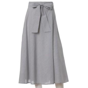 ef-de L / エフデ(エルサイズ) 《大きいサイズ》リボンベルト付きフレアスカート