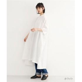 (merlot/メルロー)【IKYU】ノーカラービッグシルエットワンピース/レディース ホワイト