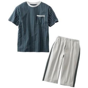 【メンズ】 綿100%半袖&7分丈パンツのTタイプパジャマ(パンツ前開き) - セシール ■カラー:ネイビーブルー ■サイズ:LL,3L,M,5L,L